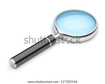 Magnifying Glass, Isolated On White Background. 3d Illustration