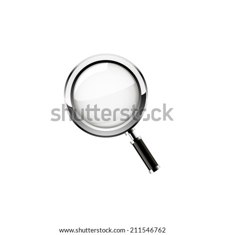 Magnifying glass isolated on white background. Raster copy. - stock photo