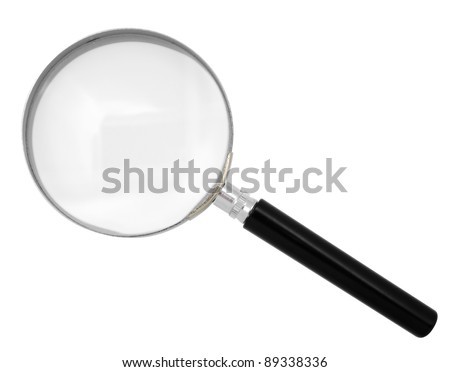 Magnifying glass isolated on white. Clipping path included. - stock photo
