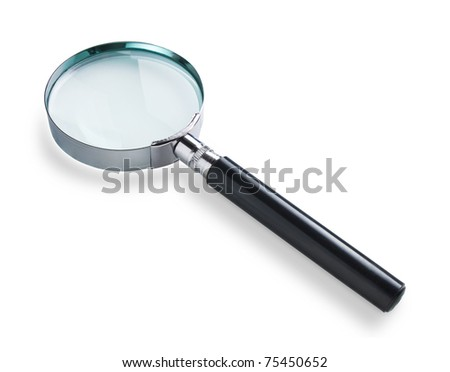 Magnifying glass isolated on white with soft shadow. Clipping path on glass - stock photo