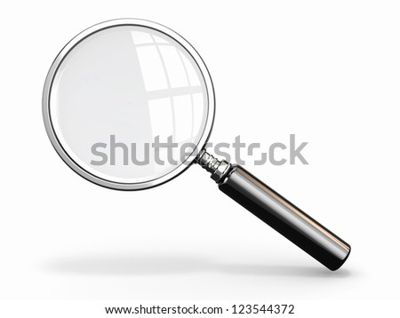 Magnifying glass. Loupe on white background. 3d - stock photo