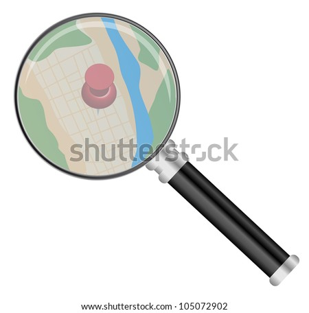 Magnifying Glass on Map Isolated on White - stock photo