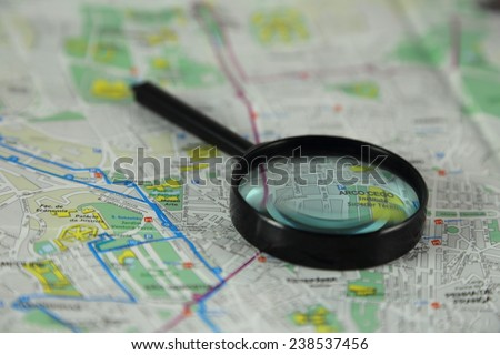 Magnifying Glass on Map of Lisbon, Portugal - stock photo