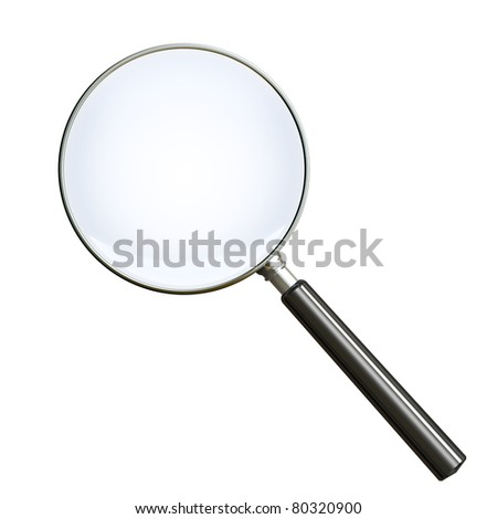 Magnifying glass on white. Clipping path included. 3d render - stock photo