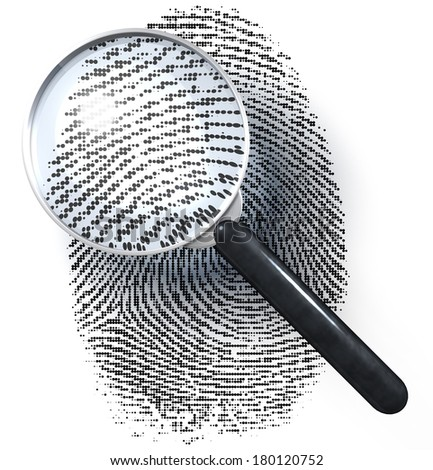 Magnifying glass over fingerprint made of dot grid, 3d rendering isolated on white background - stock photo