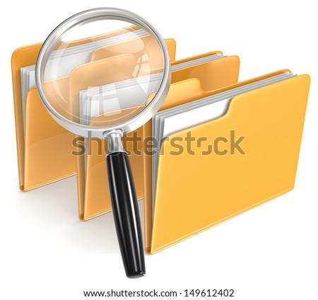 Magnifying Glass over 3 folders. Orange. - stock photo