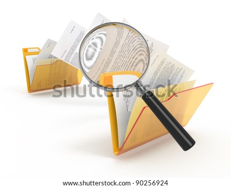 Magnifying glass over the moving documents between folders. 3d illustration. - stock photo