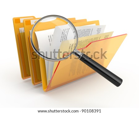 Magnifying glass over the yellow folders. 3d illustration. - stock photo