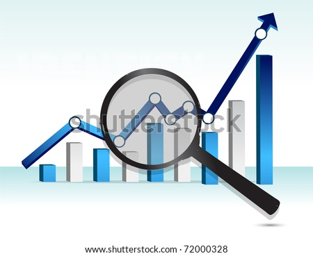 magnifying glass over top of blue business graph - stock photo
