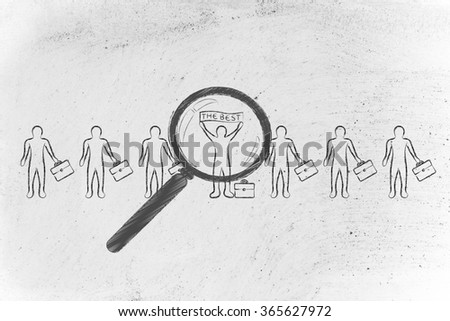 """magnifying glass pointed at a candidate or business man standing out from the crowd with """"the best""""  banner - stock photo"""