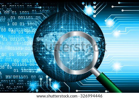 Magnifying Glass scanning and identifying a computer virus. Antivirus protection and computer security concept. PC. one zero. scan. technology digital website internet web. World Map, Global.