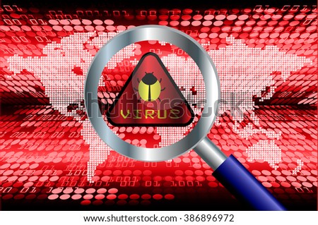 Magnifying Glass scanning and identifying a computer virus. Antivirus protection and computer security concept. PC. one zero. scan virus. technology digital website internet web world - stock photo
