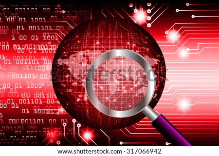 Magnifying Glass scanning and identifying a computer virus.Antivirus protection computer security concept.PC.one zero.scan. technology digital website internet web. World Map,Global.binary digit.red - stock photo