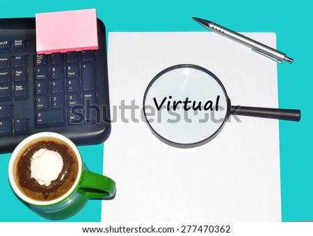 """Magnifying glass searching """"VIRTUAL"""", Internet concept  - stock photo"""