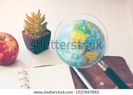 Magnifying Glass View The Continent In The Western Hemisphere Plan To  Travel Or Take Notes For