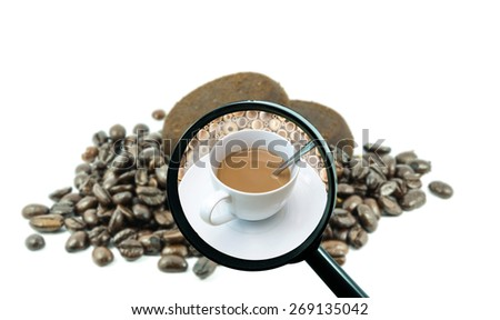 magnifying glass with background of roasted coffee beans to be coffee cup, food and drink with business concept - stock photo