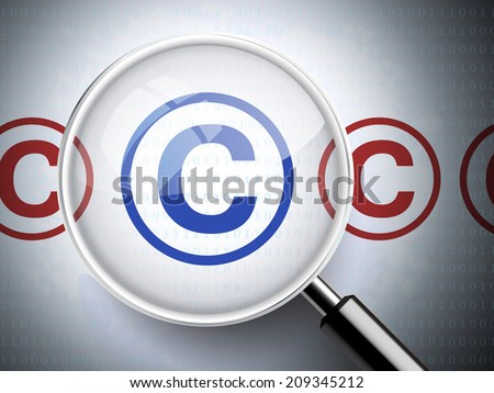 magnifying glass with copyright icons on digital background