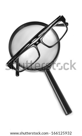magnifying glass with glasses - stock photo