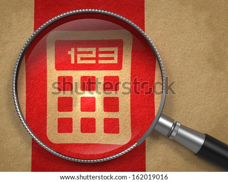Magnifying Glass with Icon of Calculator on Old Paper with Red Vertical Line Background. - stock photo