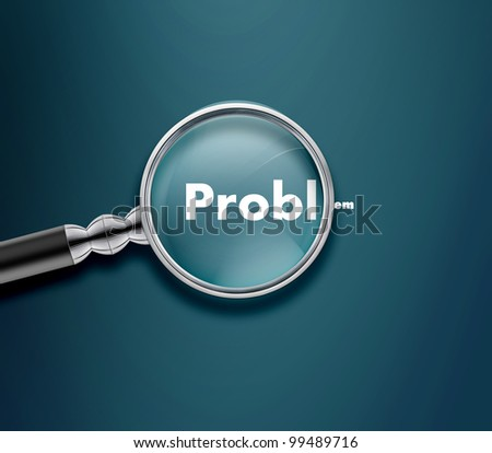 Magnifying glass with Problem word on blue background. - stock photo