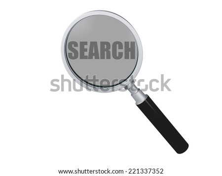 Magnifying Glass with search text On White Background 3d illustration - stock photo