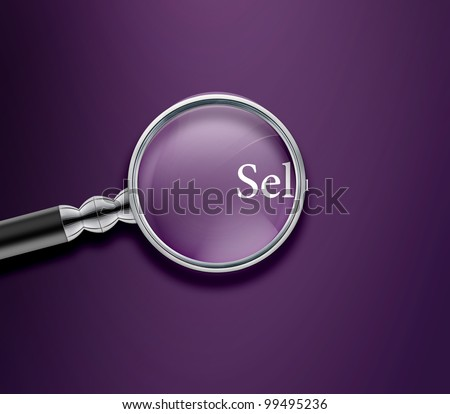 Magnifying glass with Sell word on purple background. - stock photo
