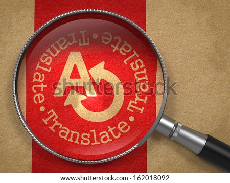 Magnifying Glass with Translating Concept on Old Paper with Red Vertical Line Background. Communication Concept. - stock photo