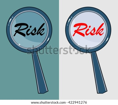 Magnifying glass with word risk on white background. Stock illustration - stock photo
