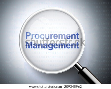 magnifying glass with words procurement management on digital background - stock photo