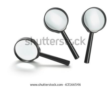 Magnifying Glasses on White Background - stock photo