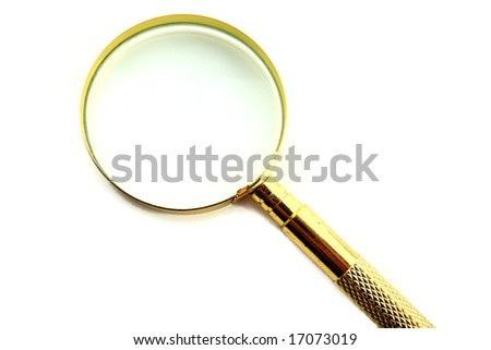 Magnifying lens isolated on white - stock photo