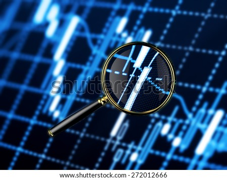Magnifying lens looking forex market charts - stock photo