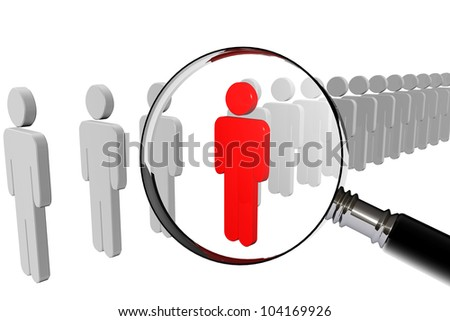 Magnifying lens over grey teamwork with red leader - stock photo
