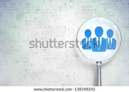 Magnifying optical glass with Business People icon on digital background, empty copyspace for card, text, advertising, 3d render - stock photo