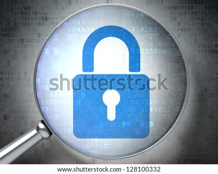 Magnifying optical glass with Closed Padlock icon on digital background, 3d render