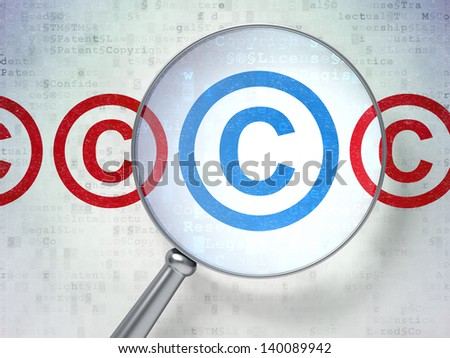 Magnifying optical glass with Copyright icons on digital background, 3d render