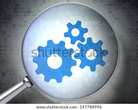 Magnifying optical glass with Gears icon on digital background, 3d render - stock photo