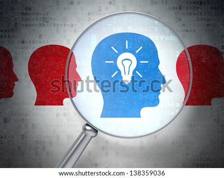 Magnifying optical glass with Head Whis Lightbulb icons on digital background, 3d render - stock photo