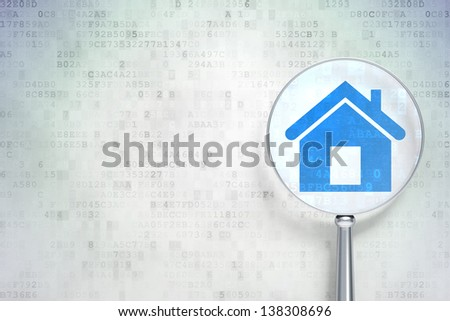 Magnifying optical glass with Home icon on digital background, empty copyspace for card, text, advertising, 3d render - stock photo