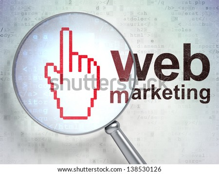 Magnifying optical glass with Mouse Cursor icon and Web Marketing word on digital background, 3d render - stock photo