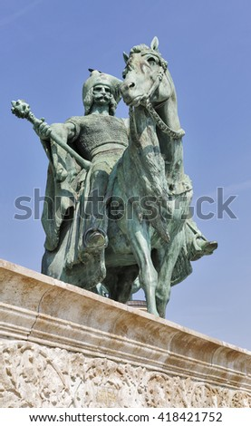 Magyar chieftain Tas statue. Millennium Memorial in Heroes Square, Budapest, Hungary.