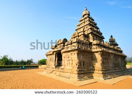 MAHABALIPURAM, INDIA â?? FEBRUARY 8 2015: Shore Temple was built in the first half of the eighth century at the shore of the Bay of Bengal. It is one of the oldest structural stone temples of India. - stock photo