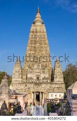 Mahabodhi temple, bodh gaya, India. Buddha attained enlightenment here. - stock photo