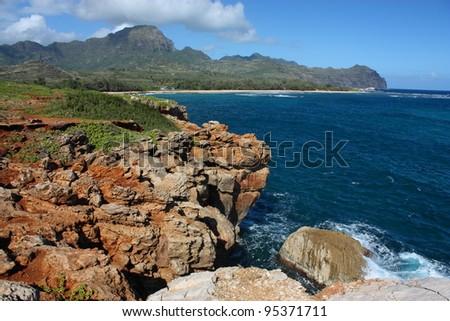 mahaulepu beach, poipu, kauai - stock photo