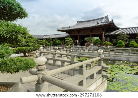 Mahavira Hall in Chi Lin Nunnery, Hong Kong - stock photo