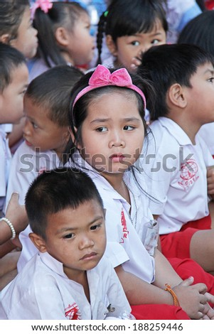 Mahawong - January 2 : The children are waiting for something from philanthropist in the Children's Day on January 2,2014 in ForDek 6 foundation Mahawong, Thailand