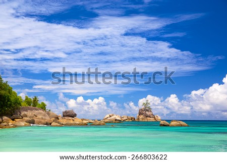 Mahe coastline with typical granite rocks, Seychelles Islands - stock photo