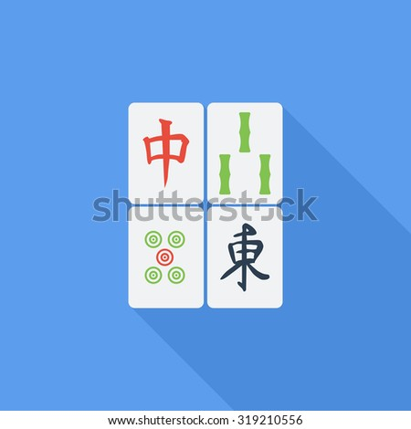 Mahjong icon. Flat related icon with long shadow for web and mobile applications. It can be used as - logo, pictogram, icon, infographic element. Illustration. - stock photo