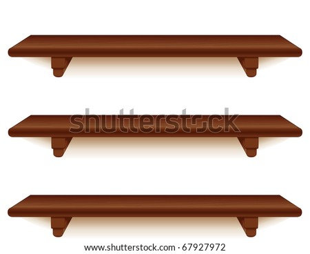 Mahogany Shelves, Horizontal. Wall group of wide mahogany wood grain shelves with brackets, white background. Add your favorite books & treasures. - stock photo