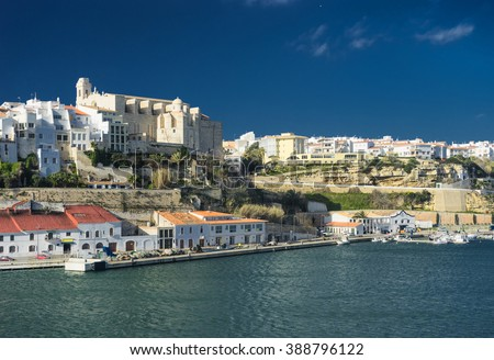 mahon port in balearic islands - stock photo